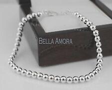 "925 Stamped Sterling Silver Pltd Polished 4mm Ball Bead Bracelet - 7.5"" new -27"
