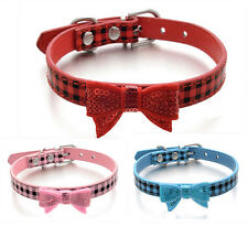 Neck Adjustable Leather Dog Collar Puppy Cat Plaid Collars Pet Bowknot Necklace