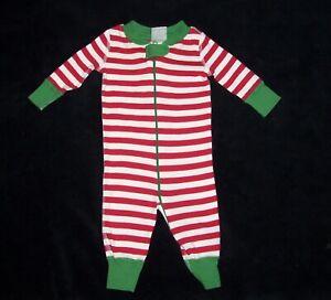 Hanna Andersson 50 0-6 Month Boy Girl Red White Green Stripe XMAS Pajamas Zipper
