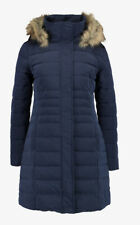 Twintip Navy Faux Fur Trim Hooded Quilted Coat - Size: Small