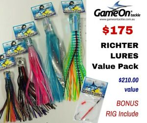 RICHTER lures VALUE 5 PACK and a bonus 8/0 hook wire rig with 200lb leader line