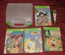 Leap Frog Tag System Reader Pen Case WITH 4 BOOKS READING TOY STORY SPONGEBOB +
