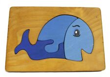 Vintage Weston Works Hand Made Blue Painted Whale Wood Puzzle