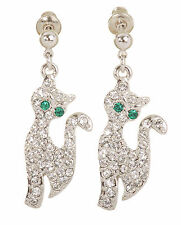 Swarovski Elements Crystal Cat Pierced Earrings Rhodium Plated 7151y