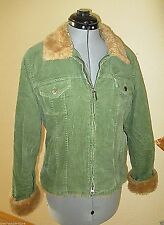 Sashimi Jacket Coat Large Green Corduroy Faux Fur trim