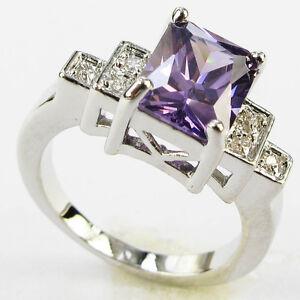 Lady/Women's Silver 14KT White Gold Filled Tanzanite Wedding Ring Gift size 6-10