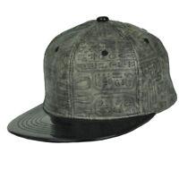 Hieroglyphic Symbol Design Egyptian Faux Leather Flat Bill Hat Cap Gray Black