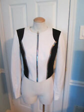 bebe white black jacket xsmall new             #697