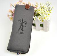 Canvas Paris Style Pencil Pen Case Cosmetic Bag Coin Purse Pouch with Zipper New