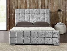 Cubed Crushed velvet upholstered Bed frame 3FT 4FT 4FT6 5FT CHEAPEST ON EBAY