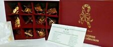Set of 12 Danbury Mint 2003 Gold Christmas Ornaments with Box