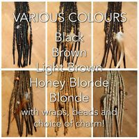 10x HANDMADE SYNTHETIC DREADLOCKS ACCENT SET OF DREADS WITH WRAPS BEADS FEATHERS