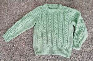 Boys sage green round neck cable knit jumper, hand knitted, Age 2 to 3 yrs