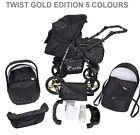 Baby Pram Pushchair Stroller Carrycot Car Seat TWIST GOLD EDITION 3in1 Travel Sy
