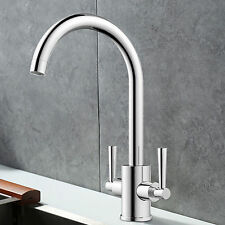 360° Dual Handles Kitchen Swivel Spray Sink Faucet Chrome Brass Basin Mixer Tap
