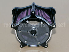 Black CNC Deep Cut Air Cleaner Kit Set For Harley Touring FLHT FLHR FLHX 08-16