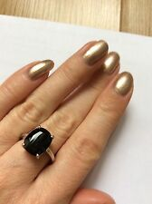Black spinel ring size N on sterling silver  from gems tv tjc