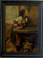 OLD ITALIAN GEM...OIL PAINTING...SHOWING PEASANT GIRL AT FOUNTAIN