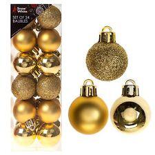 Snow White Inastillable Decoración Árbol de Navidad- 24 pack 30mm bolas oro