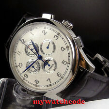 44mm parnis white dial blue marks Moon Phase automatic movement mens watch P334