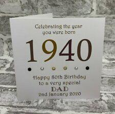 "80th 1940 Year You Were Born Birthday Card Personalised 6"" Dad Grandad Uncle Bro"
