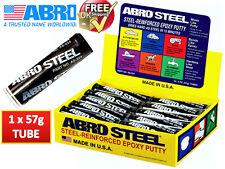 Abro Steel QuickSteel Reinforced Epoxy Metal Instant Repair Putty Weld AS224/2OZ