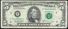 1995 UNITED STATES $5 BANKNOTE * F 70492589 D  * gF * P-498 *