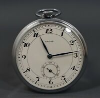 WWII NOS MINT ANCRE SWISS DRP 15J. SLIM MEN'S POCKET WATCH MILITARY CALLIGRAPHY
