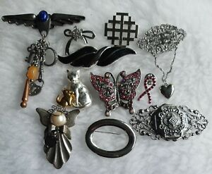 11 Silver Tone Brooches & Pins