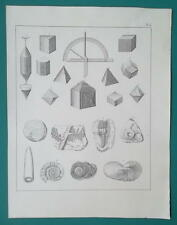 CRYSTALS & Fossils Goniometer Scales Ammonith Gryphit - 1828 Antique Print