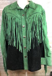 Bob Mackie leather boho hippie Western suede fringe jacket Sz Large Green Black