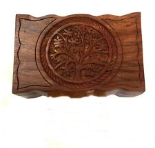 Jewelry Box Chest Storage Wooden Tree of Life Carved Tarot Cards Small trinkets