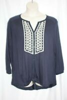 Lucky Brand Women's Blouse Navy Blue Boho Embroidered Long Sleeve Size 3X