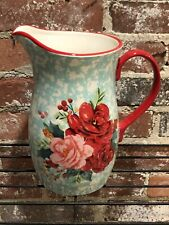 New listing New! Pioneer Woman Cheerful Rose Splatter Holiday Christmas Pitcher Ceramic