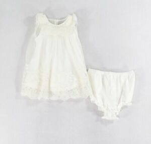 Laura Ashley Baby Girls Dress White Ivory Size 3-6 Months A-Line 2-Piece $45 647
