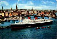 HAMBURG Hafen Schiff Dampfer Ship Steamer HANSEATIC Luftaufnahme AK color 1967