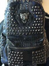 PHILIPP PLEIN Rucksack mit matten Nieten, Herren, schwarz/blauer Camo, Gr. large