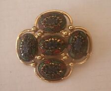 Vintage Signed Sarah Coventry Light of the East Mosaic Style Brooch Pin Goldtone