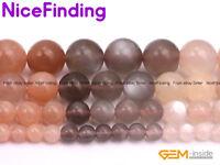 "Natural Round Rainbow Moonstone Gemstone Beads For Jewelry Making Strand 15"" DIY"