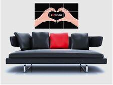 "I Love Techno senza confini MOSAIC TILE muro poster 35 ""X 25"" ELECTRO EDM"