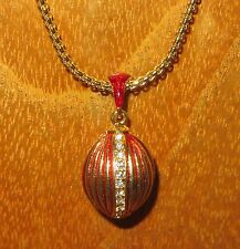 Russian FABERGE inspired RED ENAMEL Swarovsky Crystals GOLDEN EGG pendant chain