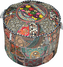"New Black Embroidered 18"" Vintage Ottoman Pouf Cover Indian Patchwork Foot Stool"
