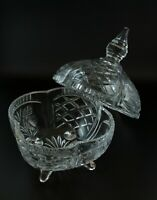 Vintage Crystal Cut Glass 24% Lead Crystal Footed Candy Dish w Lid Poland