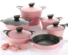 Neoflam EELA Pink aluminum Chef Stockpot & Wok & Multigrill Premium Set 6 pcs