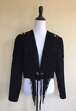 SCULLY Black Suede Leather Fringed Western Cropped Jacket Clovos Festival 10