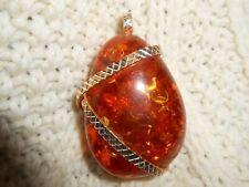 Irish Celtic Golden Amber Drop Necklace