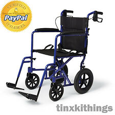 Portable Transport Wheel Chair with Brakes Light Folding Adult Handicap Medical