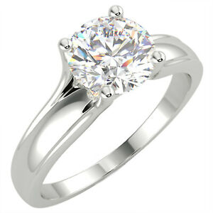 1.33 Ct Round Cut SI1/E Solitaire Diamond Engagement Ring 14K White Gold