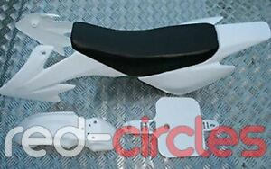 WHITE CRF50 STYLE PIT BIKE PLASTICS SET & SEAT 50cc 110cc 125cc PITBIKE