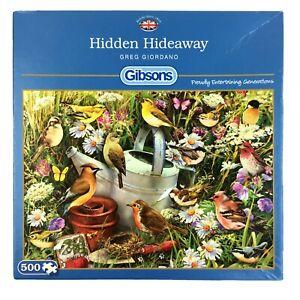 Hidden Hideaway Jigsaw Puzzle 500 Gibsons Birds Garden Wild Flowers Feathered Fr